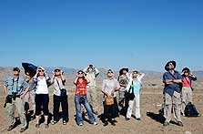 Our travelers watching the Total Solar Eclipse on our Xinjiang Hunza trip.